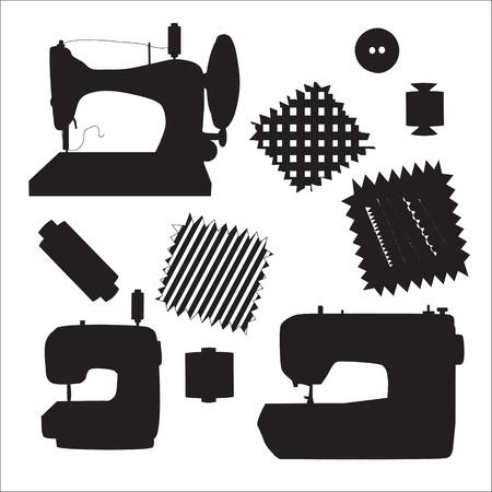 M�quinas de costura silhueta negra kit