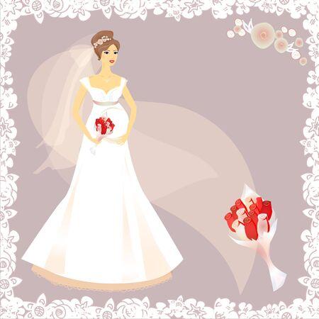 Beautiful pregnant bride silhouette Stock Vector - 16938492