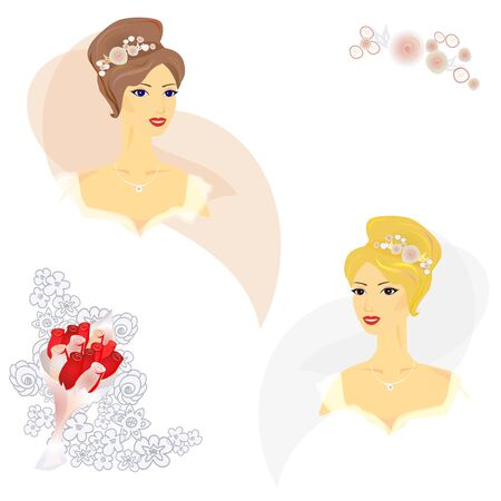 2 Beautiful women in wedding dress with elements for your card design Vector