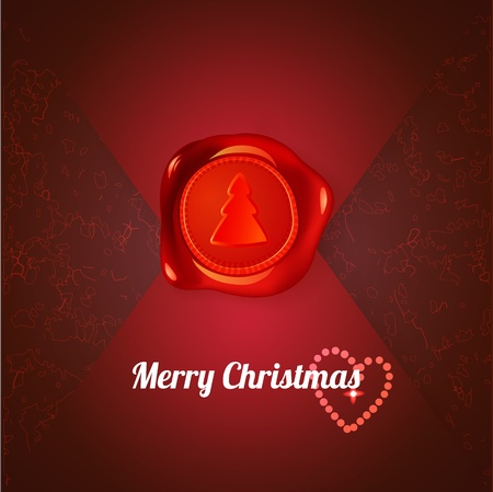 Red stamp with xmas tree on red letter Vector