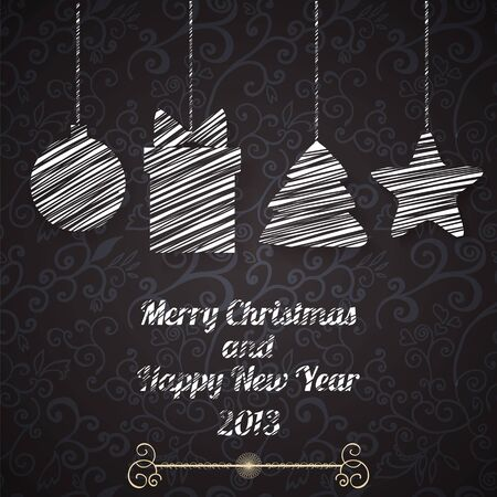 Christmas and New Year vector greeting card on seamless pattern Stock Vector - 17068107