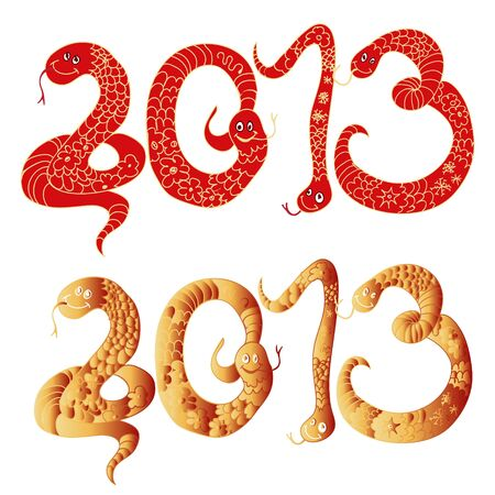 2013 Chinese Year of Snake, Numbers illustration Stock Vector - 17068047