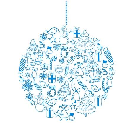 multiply: Invierno Navidad pelota con la mano dibujada objetos vacaciones