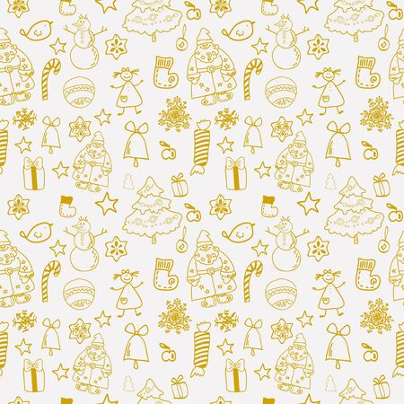 Funny winter christmas  seamless pattern gold Stock Vector - 17068128