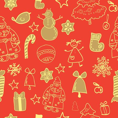 Funny winter christmas  seamless pattern gold red Stock Vector - 17068053