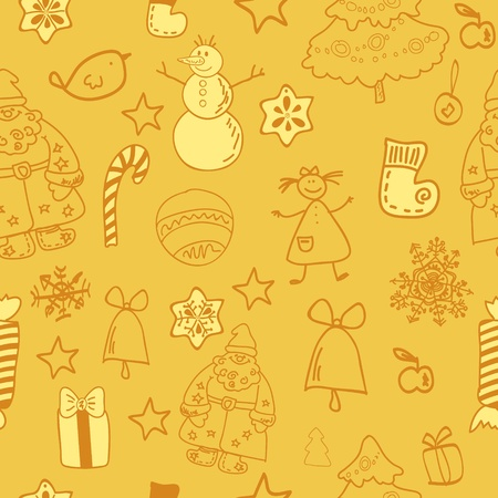 Funny winter christmas seamless pattern gold Stock Vector - 17068021