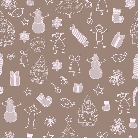 Funny winter christmas seamless pattern Stock Vector - 17068086