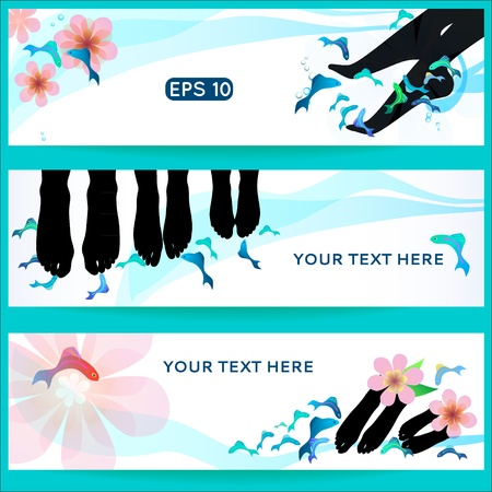 Fish spa pedicure set of horizontal  banners wellness care treatment with rufa garra, or doctor fish, nibble fish and kangal fish Vector