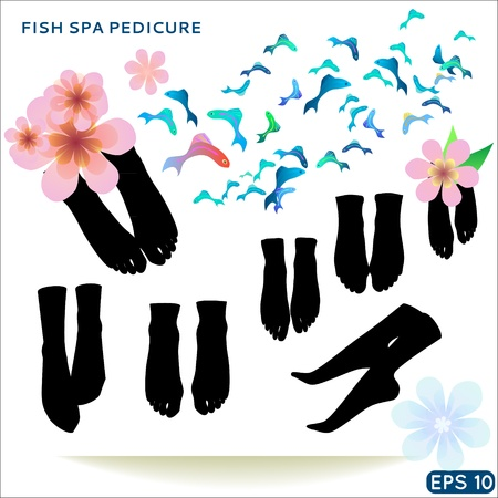 Fish spa pedicure set of  icons pedicure wellness care treatment with rufa garra, or doctor fish, nibble fish and kangal fish Vector