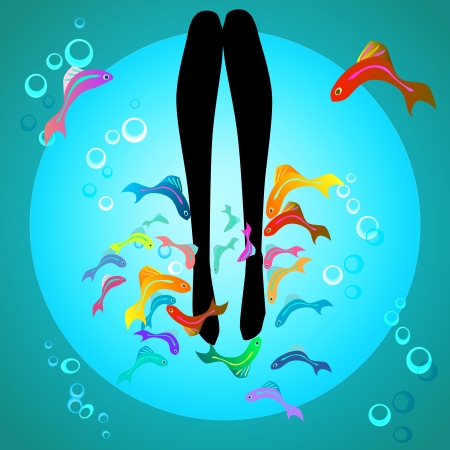 fish spa pedicure wellness care treatment with rufa garra, or doctor fish, nibble fish and kangal fish Vector