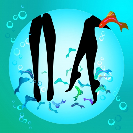 fish spa pedicure wellness care treatment with rufa garra, or doctor fish, nibble fish and kangal fish Stock Vector - 17068064