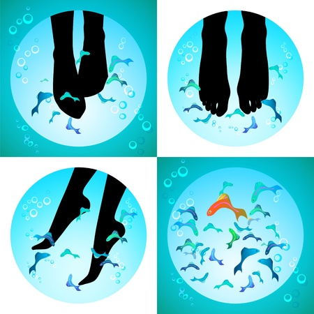 Fish spa pedicure set of  icons pedicure wellness care treatment with rufa garra, or doctor fish, nibble fish and kangal fish