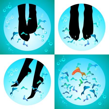 Fish Spa pedicure set van pictogrammen pedicure wellness zorg behandeling met Garra rufa, of dokter vis, knabbelen vis en Kangal vis Stock Illustratie