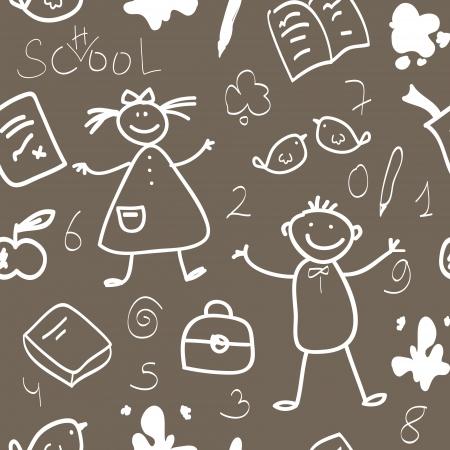 school bag: School vintage seamless pattern with boys, girls and school stuff - book, pencil, ink splash, bag, apple