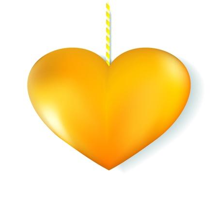 3D golden heart on white background Stock Vector - 17068097