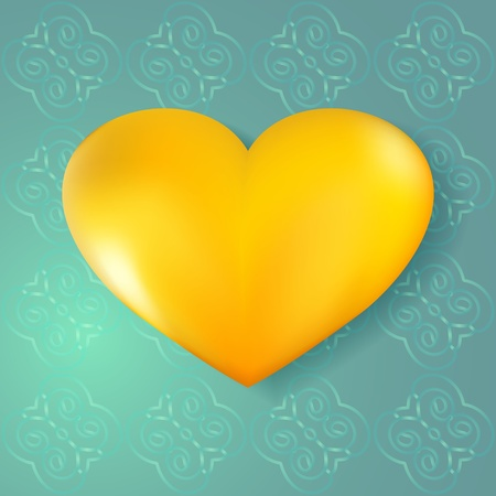 3D golden heart on abstract seamless background Stock Vector - 17068102