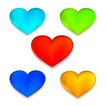 Colorful hearts set for your web design Stock Vector - 17068093