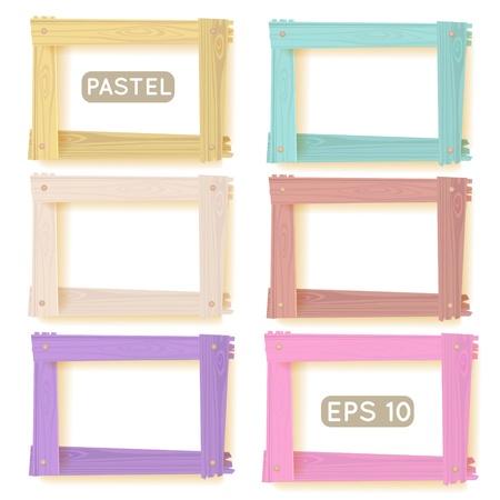 marco madera: Marcos de madera pastel conjunto para el diseño de su web Vectores