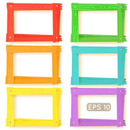 Wooden picture frames color set for your web design Stock Vector - 17294201