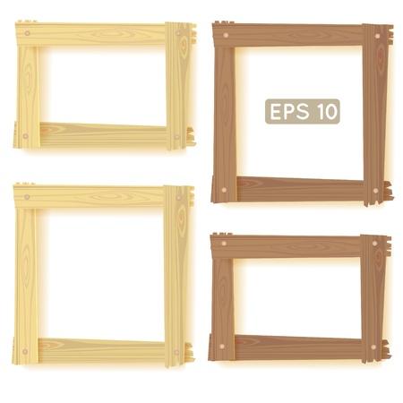 Wooden frames set, picture Illustration