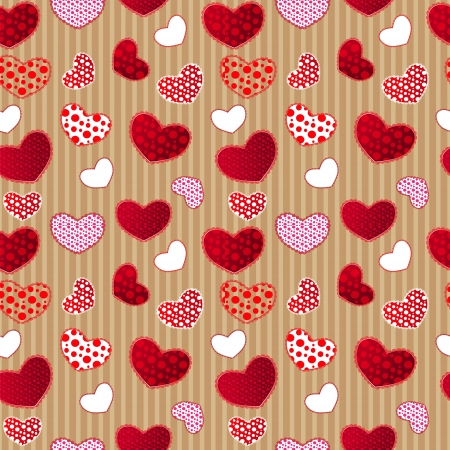 Red Vintage Love Valentins Day Seamless Pattern on Craft Paper. Illustration for your design Vector