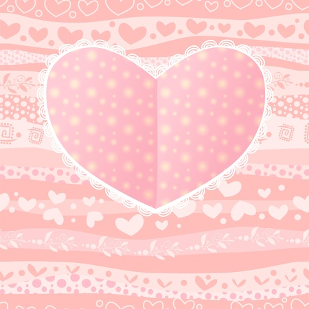 Love Valentines Day Wedding Heart Card on Waves Seamless Background Vector