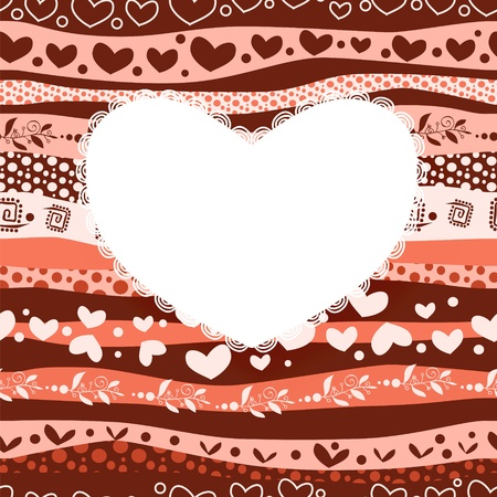 Love Valentine's Day Card on Waves Lines Seamless Background Stock Vector - 17294023