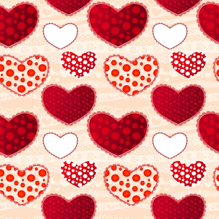 Red and Pink Love Valentins Day Seamless Pattern. Vector Illustration for your design