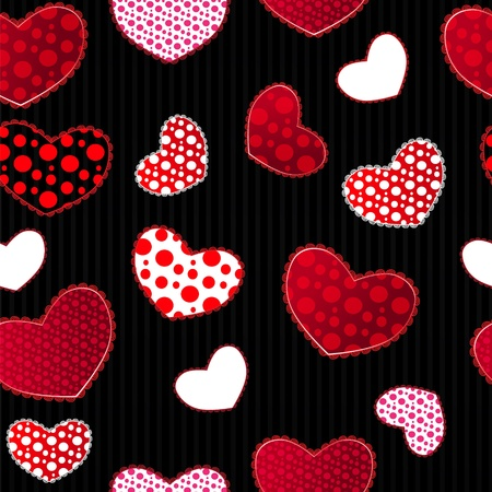 Red and Black Love Valentins Day Seamless Pattern. Illustration for your design Vector