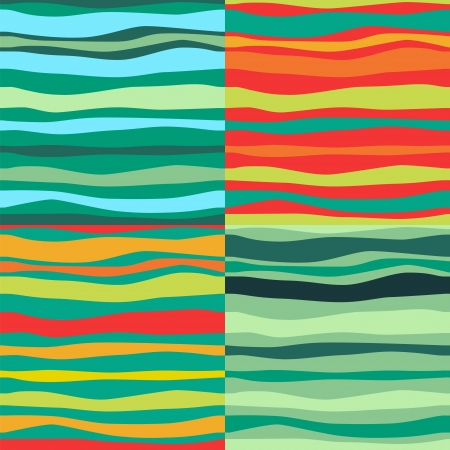 Color Waves Lines Seamless Background. Set of 4. illustration for your design Stock Vector - 17293867
