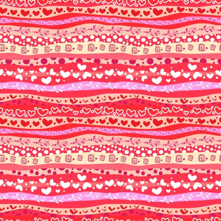 Red Love Valentins Day Waves Lines Seamless Background.  Illustration