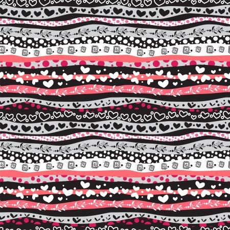 square detail: Waves Red Love Valent�n D�a de L�neas de fondo sin fisuras. Vectores