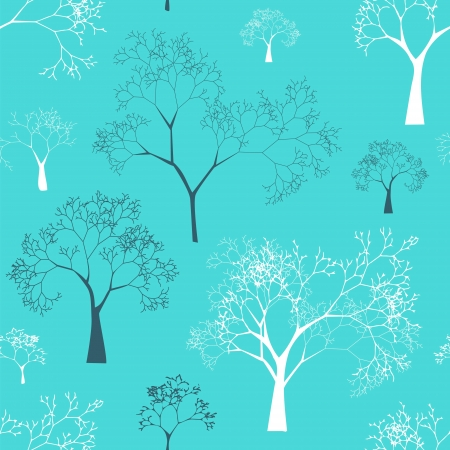 tree planting: Seamless Pattern of Tree Silhouettes