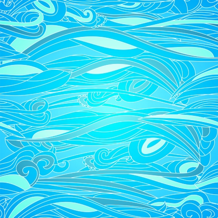 Water seamless waves pattern in ocean colors Stock Vector - 17294021