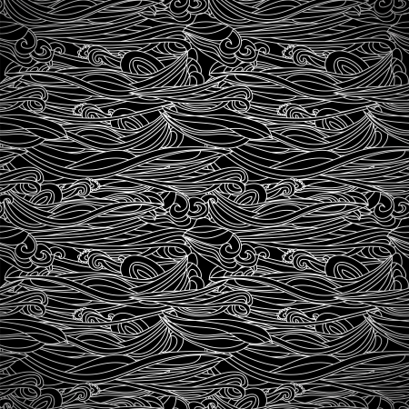 Floral Waves Lines Seamless Background Black and White. Business, lace pattern Vector