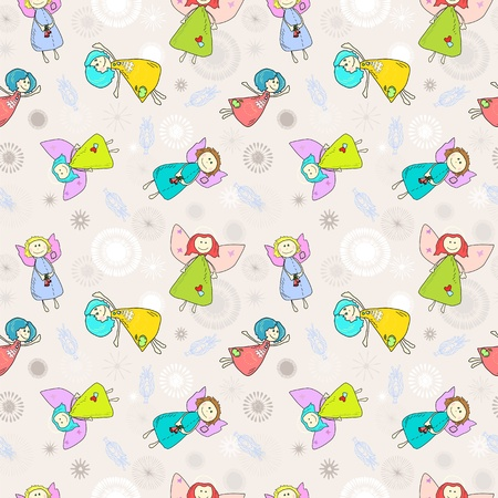 Cartoon romantic seamless pattern with angels Vector