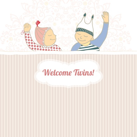 Baby shower card with twins little boy and girl sleeping Vector
