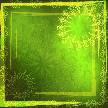 african fabric: Ethnic background, green frame.
