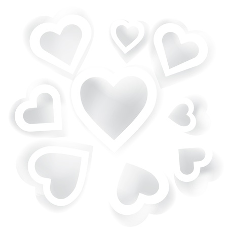 Vector holiday card with white hearts with shadow for your web design Stock Vector - 17294043