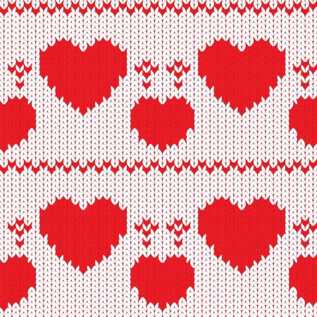 Knitted textile decorative valentine hearts, seamless pattern Illustration