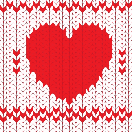 Knitted textile decorative valentine heart, seamless pattern Vector