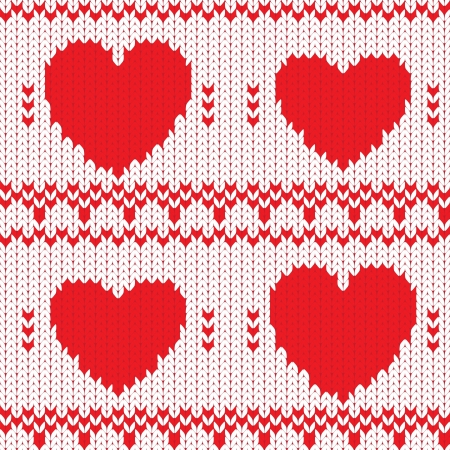 wool texture: Knitted textile decorative valentine hearts, seamless pattern Illustration
