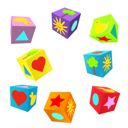 Set of 3D colorful childish play cubes