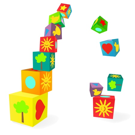 Falling tower of colorful childish play cubes Vector