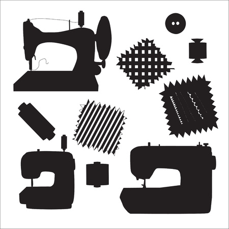 sewing cotton: Sewing machines kit black silhouette