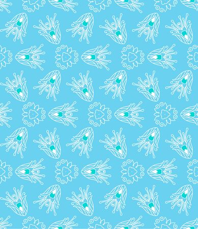 Ethnic seamless pattern background in blue colors Stock Vector - 17294280