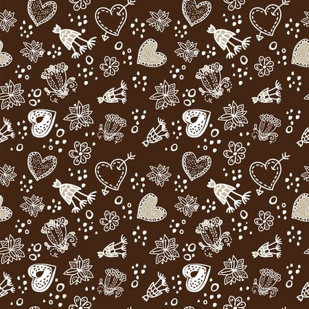 Doodle floral seamless pattern sepia dark  and white. for wallpaper, pattern fills, web page background, surface textures. Stock Vector - 17590234