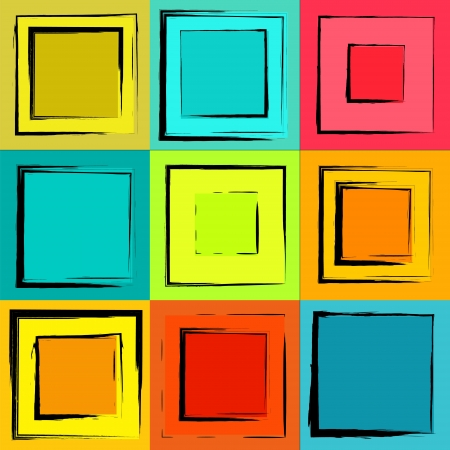 Grunge colorful retro background, set of frames Stock Vector - 17590231