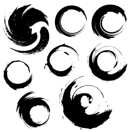 brush: set of grunge circle brush strokes.