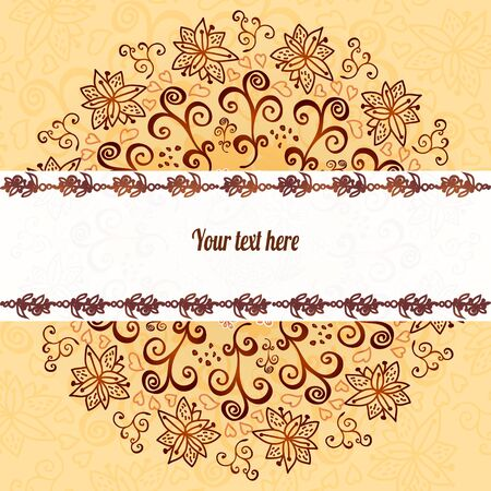 vertical garden: Vintage chocolate and cream ornament background with horizontal place for your text